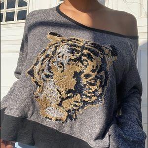 Tiger print off shoulder top